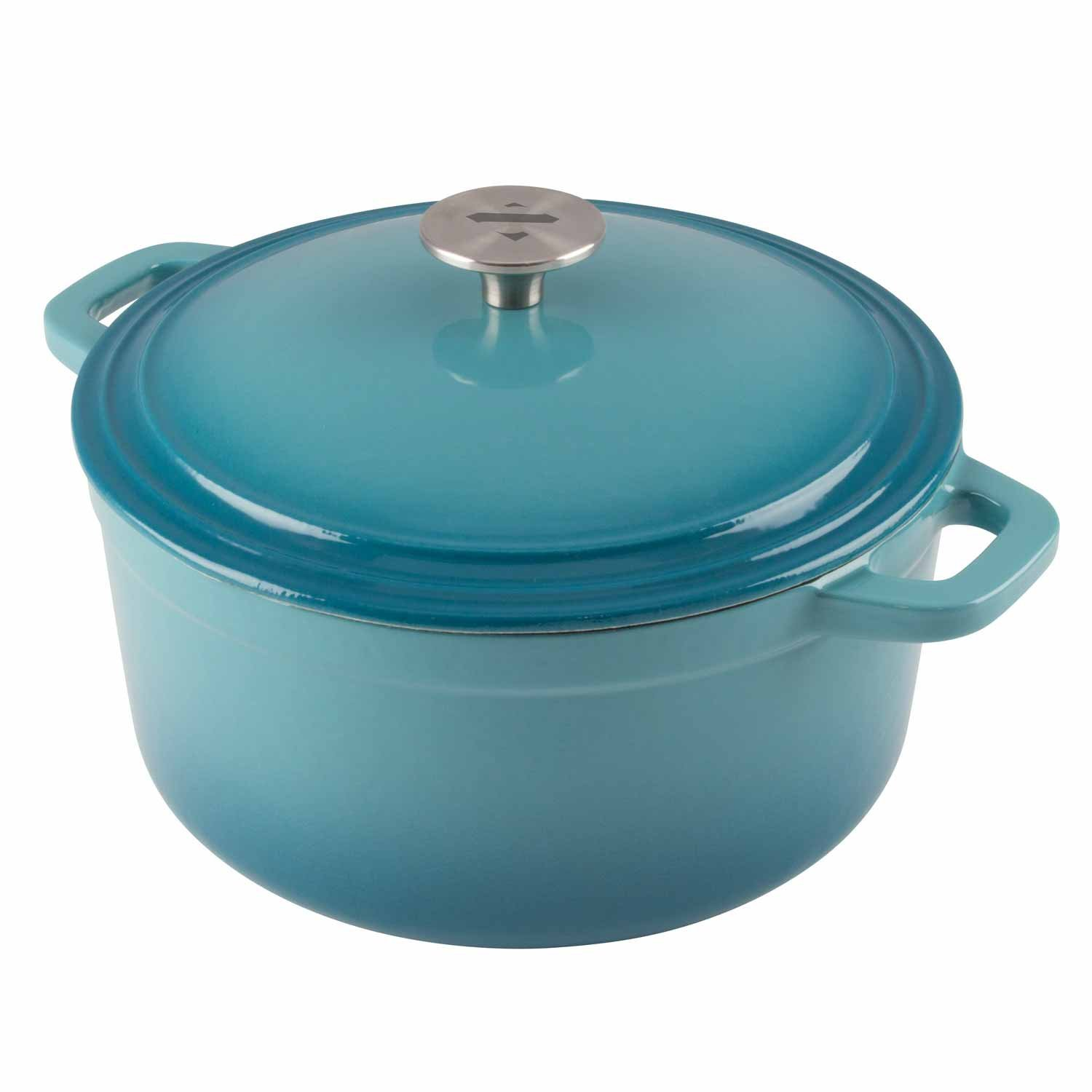 Zelancio Cookware 6 Quart Enameled Cast Iron Dutch Oven Cooking Dish with Self-Basting Lid, Teal