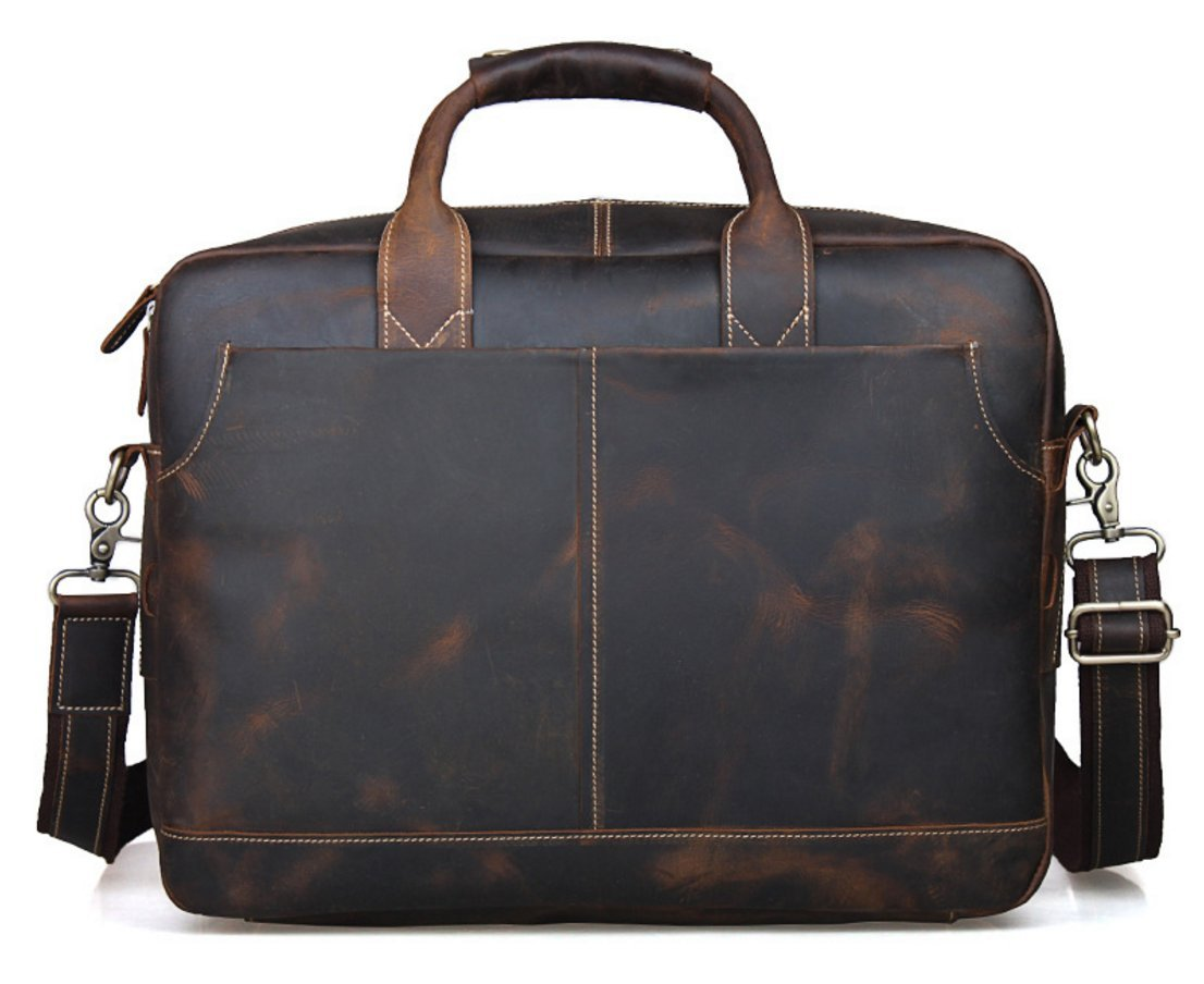Classic Design Men's Crazy Genuine Leather Business Bag Work Bag Laptop Briefcase Messenger Bag Shoulder Bag Fit 15'' Laptop (coffee)