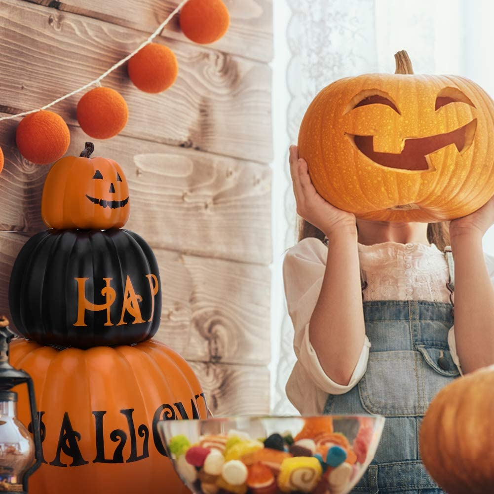OUSFOT Lot de 3 citrouilles d/écoratives pour Halloween ou f/ête