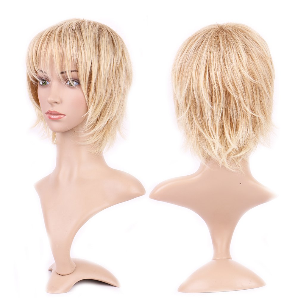 Synthetic Wig with Bang Blonde Japanese Kanekalon Fiber 12 Styles Heat Resistant Full Wig Short Hair Full Head 4.5'' / 4.5 inch+Stretchable Elastic Wig Net for Women,Light Ash Blonde by Sexybaby (Image #1)