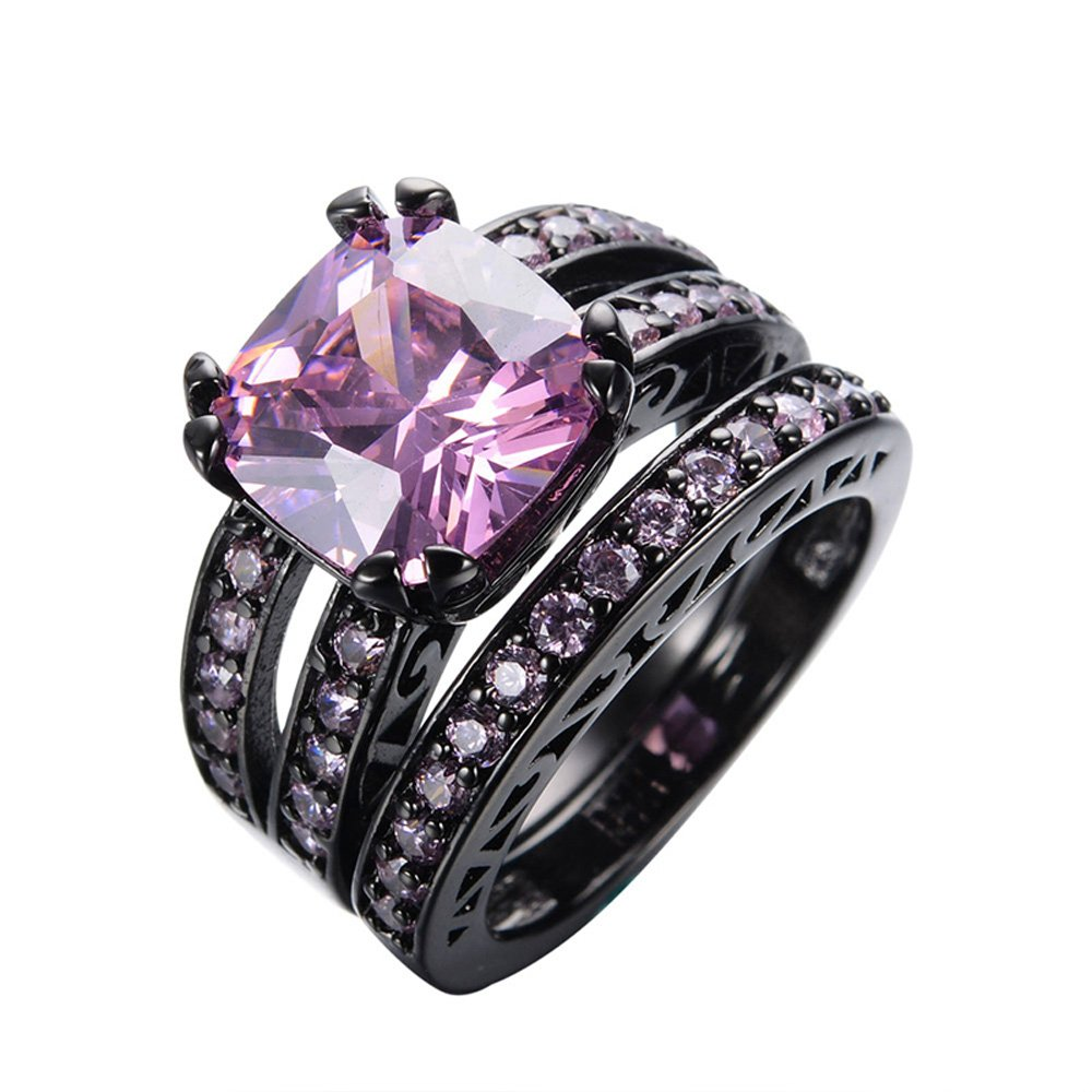 F/&T JEWEL Princess Pink Sapphire Ring Sets Vintage Ring For Women Wedding Ring Engagement Bridal Rings