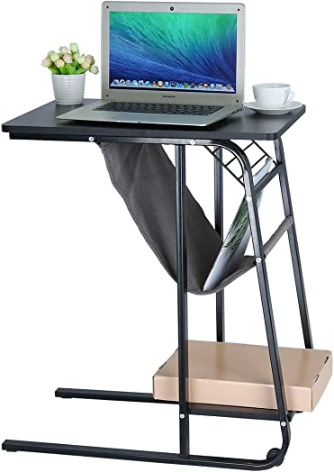 Joysale Sofa Side Table with Wheels C Style Table with Storage Shelves Table Laptop Desk Black 2