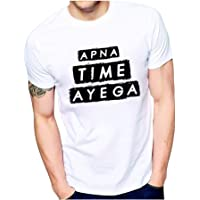 Ezellohub Valentine Day Apna Time Aayega Printed Round Neck & Half Sleev White T-Shirt for Boys/Men/Brother/Friends/Boy Friend