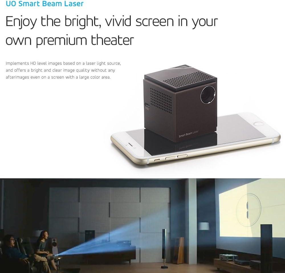 Portátil Mini Proyector [UO Smart Haz láser] CES premiado 1280 X 720HD Focus-Incluso Wireless Laser Clase 1 Horas batería integrada Mirroring Smartphone Tablet HDMI PC portátiles Video Game Apple TV: Amazon.es: Electrónica