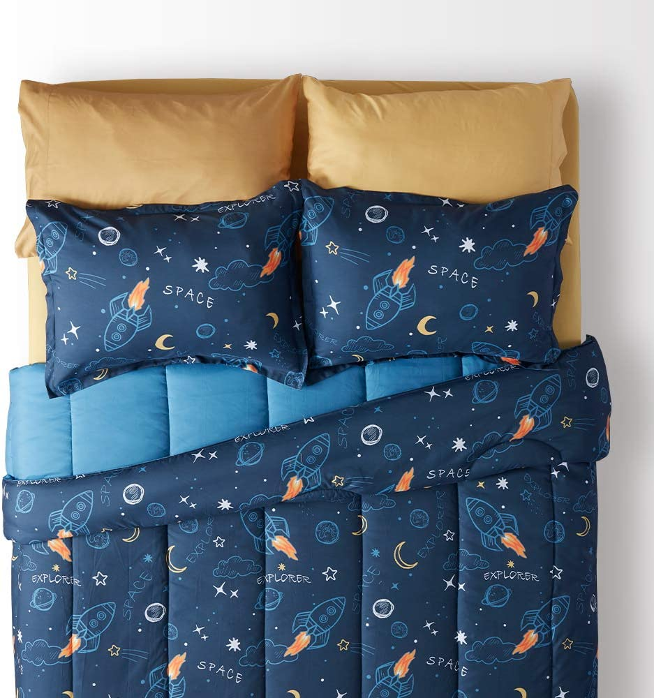 Blue Twin SLEEP ZONE Kids Bed-in-a-Bag Bedding Set Easy-Care Microfiber Ultra Soft Comforter and Sheet Sets with Sham 5 Pieces Space Rocket for Boys