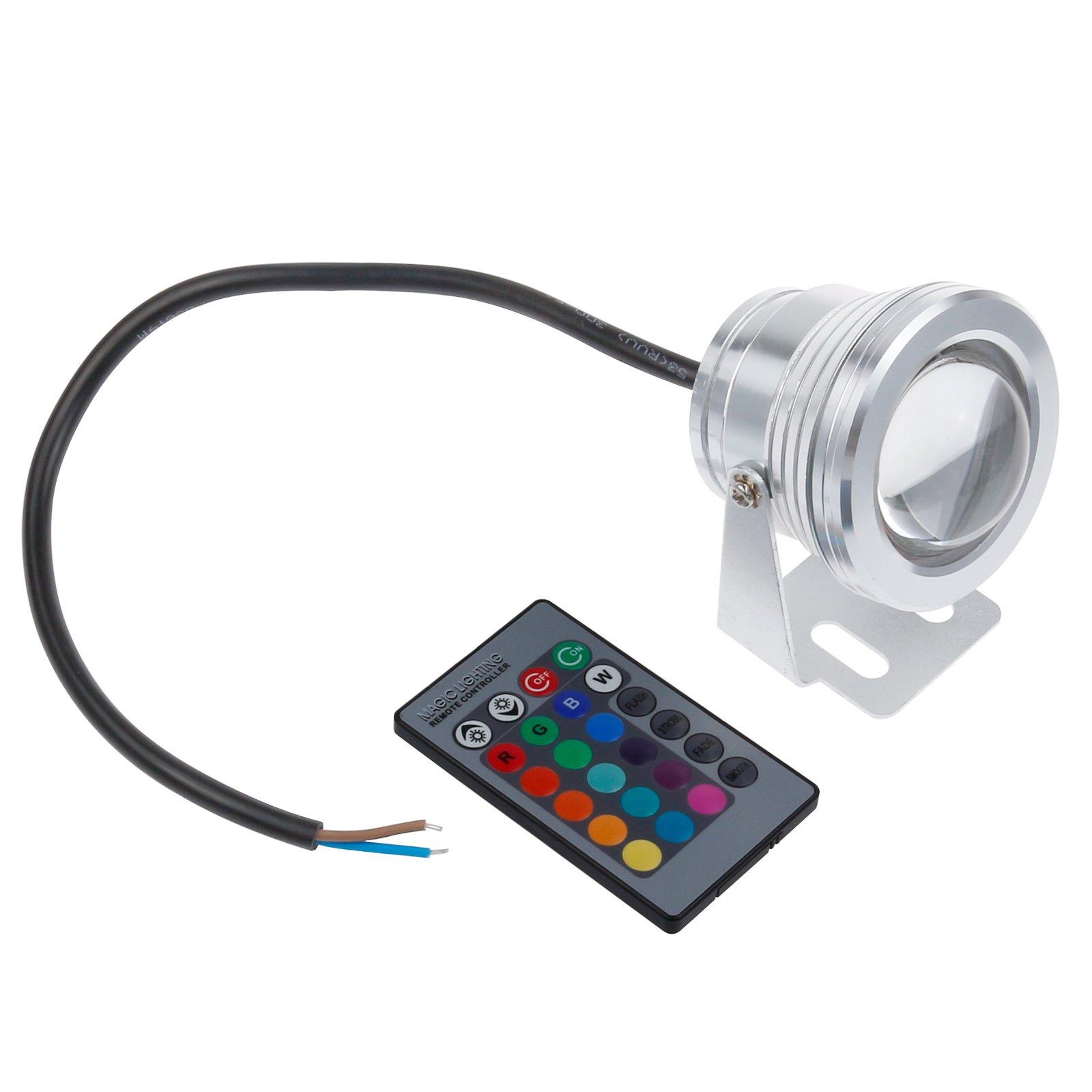 LemonBest 12V RGB Multi-color IP67 LED Underwater Light Landscape Fountain Pond Lamp Spotlight Bulb with Remote Control