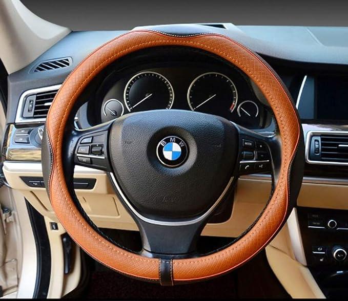 Cubierta del volante universal 15 pulgadas-cuero reAlzado, respirable, antideslizante e inodoro cuatro estaciones universal para el carro SUV del coche ...
