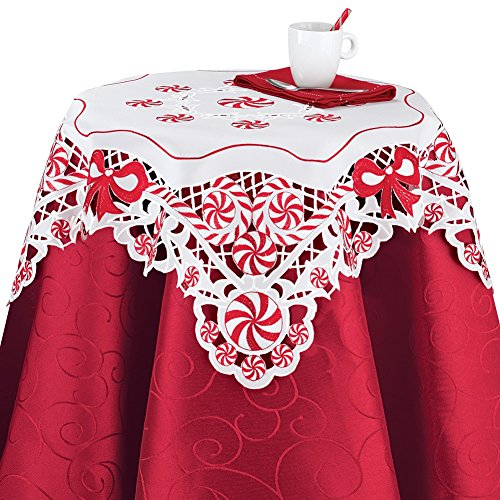 Collections Etc Peppermint Candy Elegant Christmas Table Linens, Square