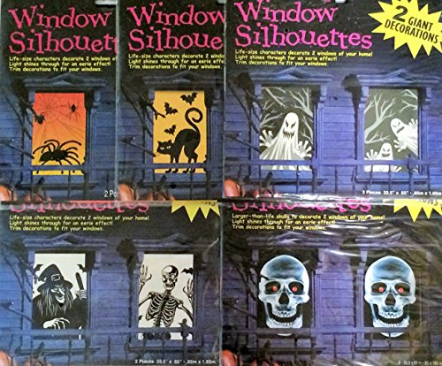 2 Giant Window Silhouettes Halloween Decorations Assorted -