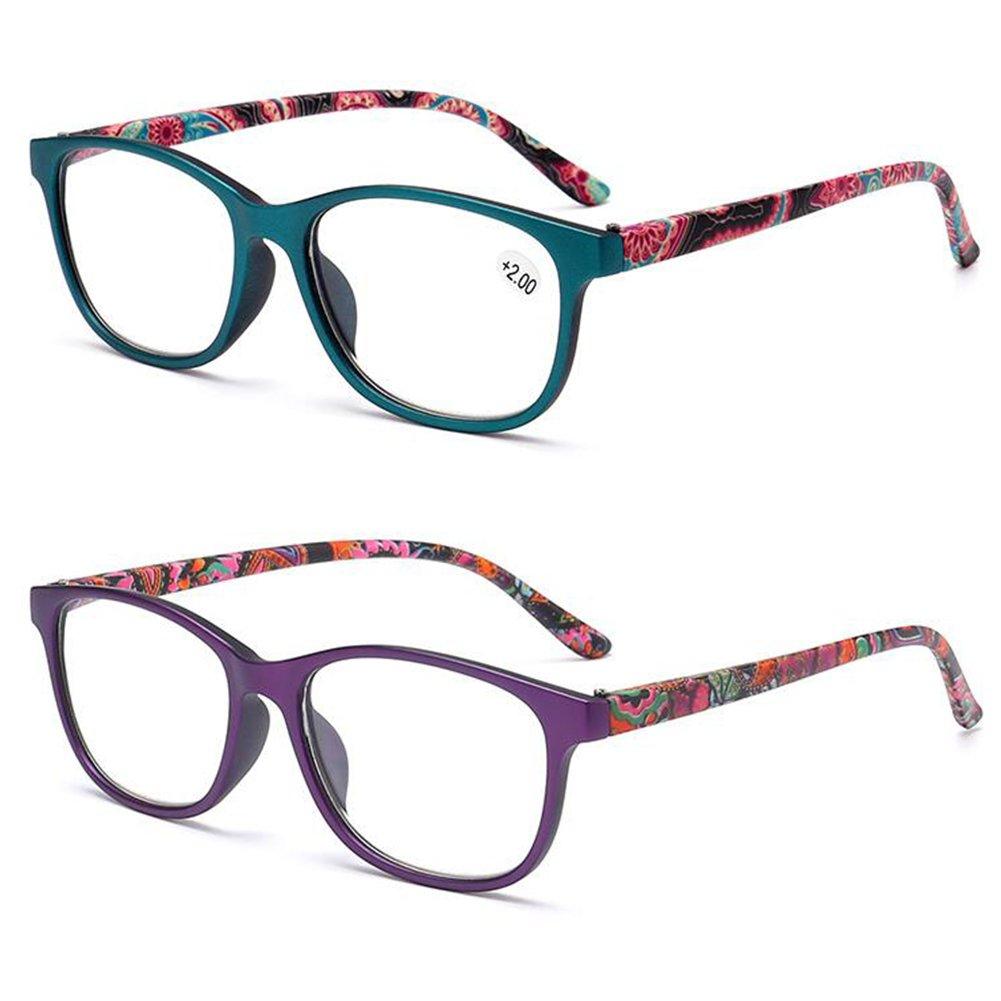 Inlefen 2 paires de lecteurs de printemps à charnière lunettes de lecture pour les hommes et les femmes +1.0 à +4.0