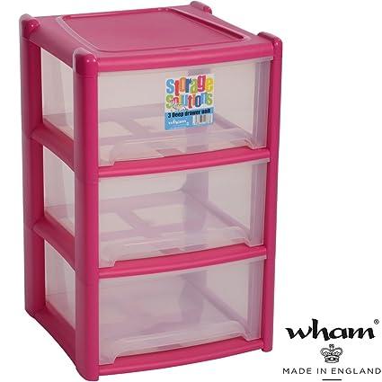 Estantería con 3 cajas de plástico, de formas de polipropileno, fucsia, 39 x
