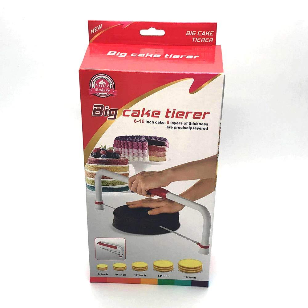 トッププロ仕様ベーキングツール フラットレイヤーケーキ用 高さ8段階調整可能 ケーキカッターとレベル ステンレススチールとホワイトのハンドル   B07M8Q8CR8
