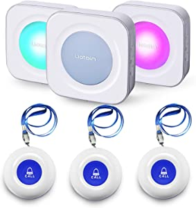 LIOTOIN Wireless Caregiver Pager Call Button Nurse Alert System Call Bell for Home/Elderly/Patients/Disabled/School 3 Transmitters 3 Plugin Receivers (600+ft Operating Range)