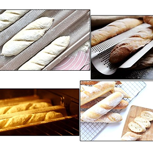 Delidge 3 Gutters Non-stick Aluminized Steel Perforated Baguette Pan French Bread Pan Wave Loaf Bake Mold,Loaf Baking Pan,Wave Baking Molds Commercial Baguette mold for Artisan Bread 2x10.5inch by Delidge (Image #6)