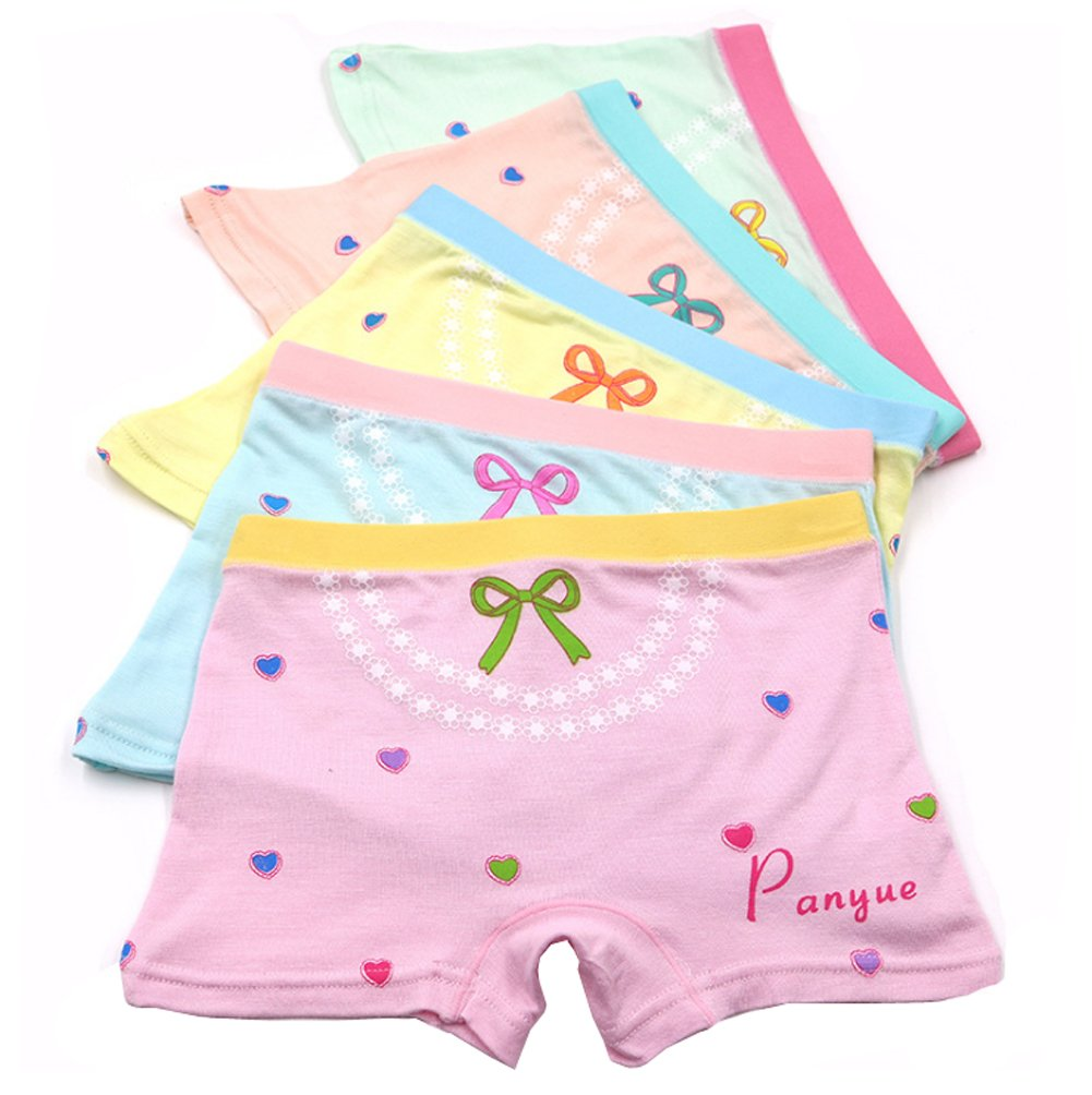 2-8 Years Old Girl's Heart Bowknot Print Boyshort Safety Dress Underwear 5 Multicolor Packed