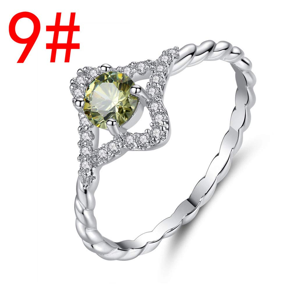 Letdown/_rings Opal Ring Fashion Women Jewelry Filled Wedding Engagement Six Claw Ring Valentines Festival Gifts for Boyfriend Girlfriend US Size