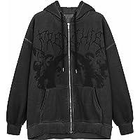Y2K Sweatshirt voor dames, grote vlinder, graphics, strass, rits, hoodies, voor jaren van grijze diamant, streetwear