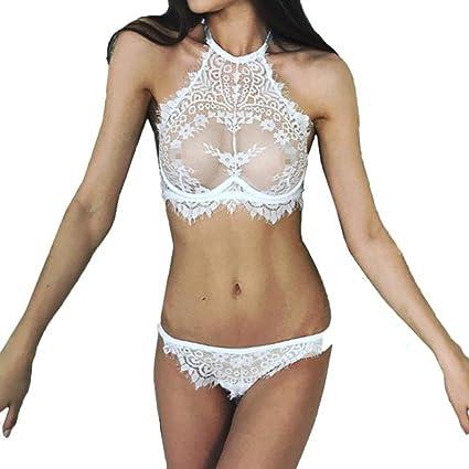 Modaworld _Lencería Conjuntos Sexy Mujer Lenceria Erotica de Mujer Flores de Encaje Push Up Bra Tops