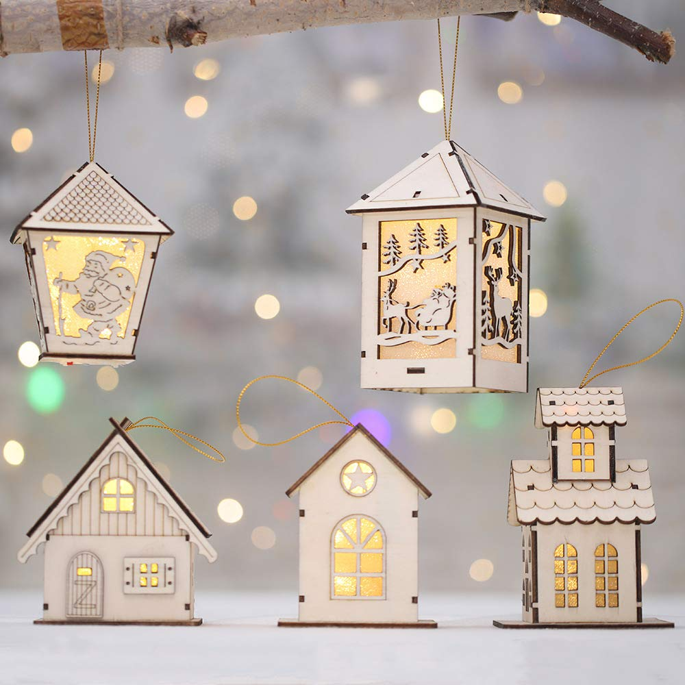 GOBEAUTY Christmas Decorations, LED Light Wood House, Christmas Tree Hanging Ornaments,Festival Gift Wedding Decoration (5 pcs)