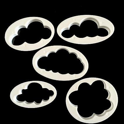 Juego de 5 unidades de moldes para repostería con forma de nubes. Ideales