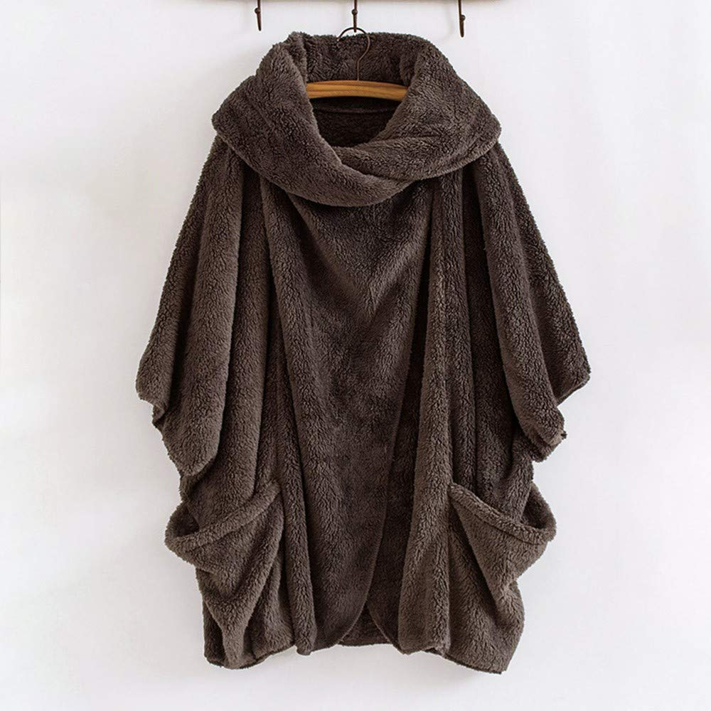 Luckycat Mujeres Casual S/ólido Cuello Alto Grandes Bolsillos Capa Abrigos Vintage Abrigos de Gran tama/ño
