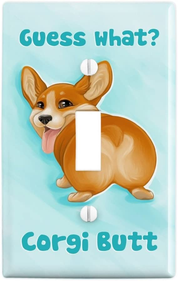 GRAPHICS & MORE Guess What Corgi Butt Funny Joke Plastic Wall Decor Toggle Light Switch Plate Cover