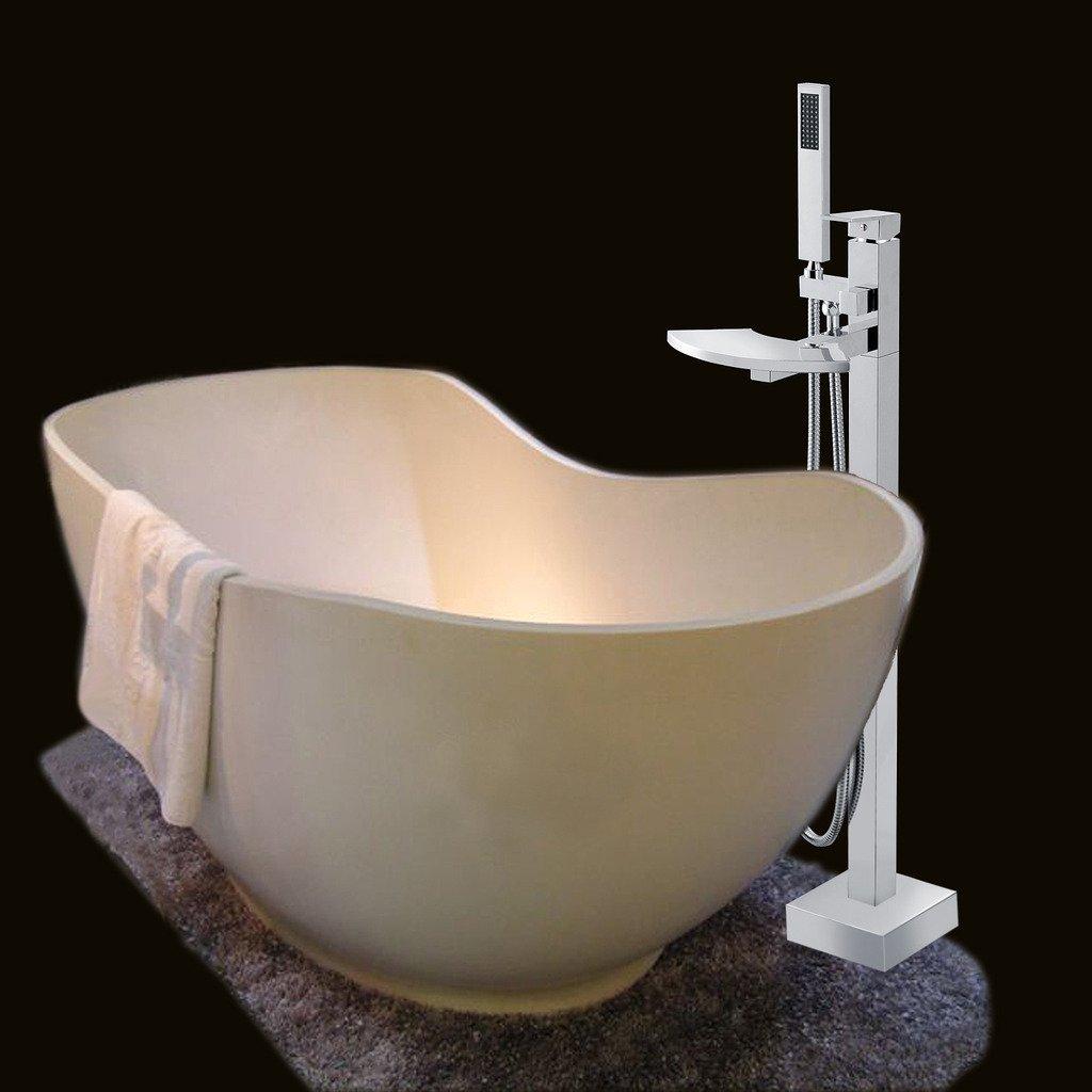 Free Standing Waterfall Bath Tub Filler Faucet Hand Shower Floor ...