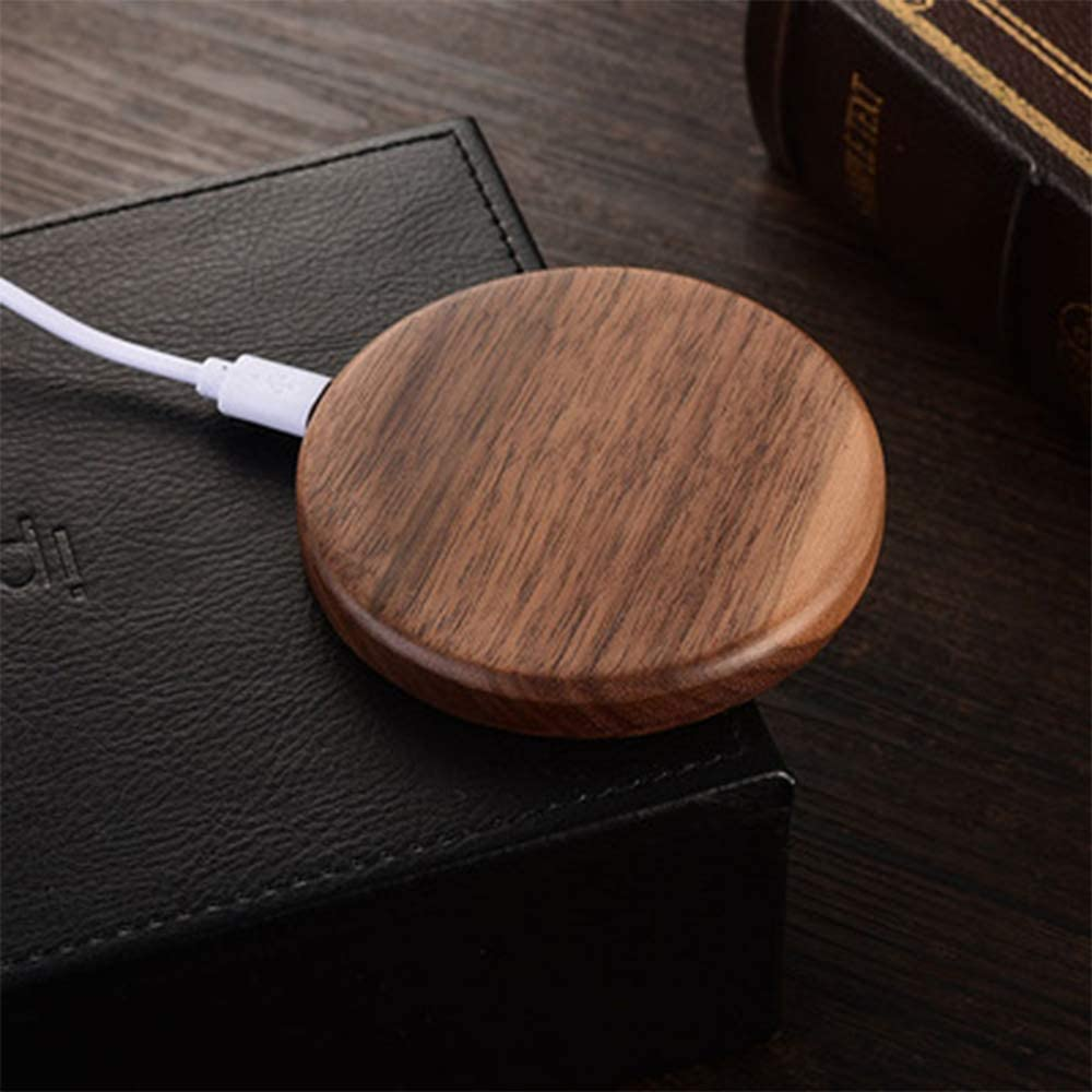 Wooden Fast Charging Base for iPhone 8//8 Plus iPhone X Walnut Wood Wireless Charge Pad for Qi-Enabled Devices Samsung Note /& Galaxy S8//S8+//S7//S7 Edge//S6 Edge+ /& M CASTELBELBO Qi Wireless Charger