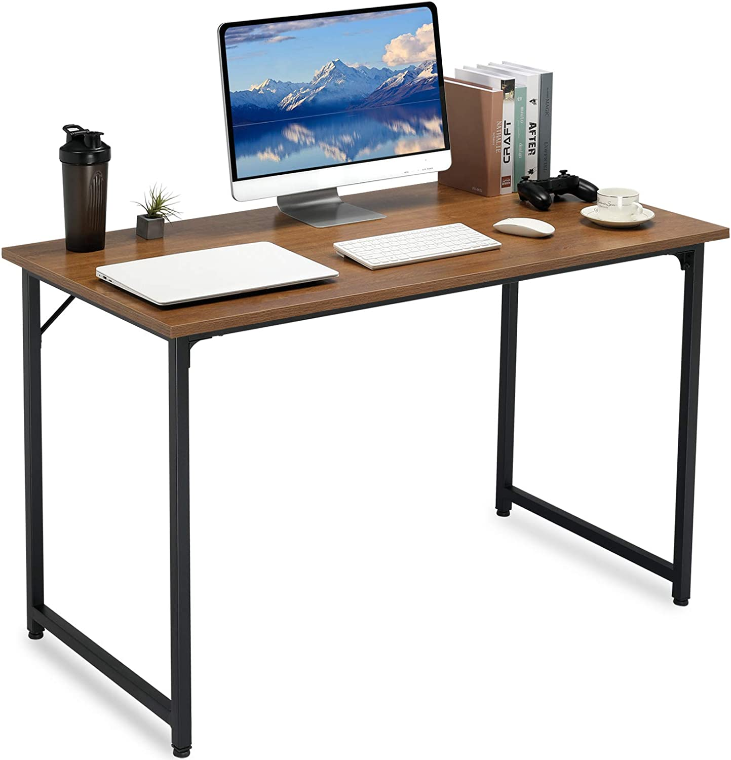 ComHoma Computer Desk 47 inch Home Office Writing Desk for Small Space Modern Student Work Laptop PC Notebook Study Table, Brown