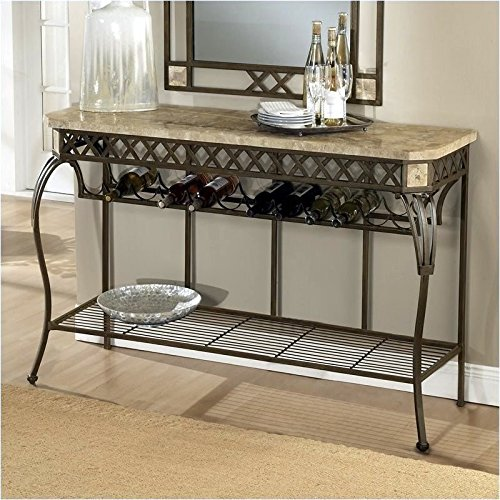 Server/Console Wrought Iron Table w Fossil Stone Top - Brookside (Server Stone Top)