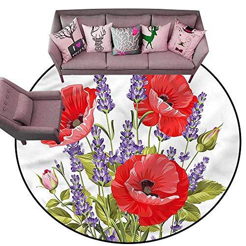 (Rug Bathroom Mat Lavender,Poppy Flower Bouquet Diameter 60