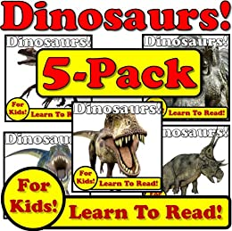 Dinosaurs! 5-Pack of Dinosaur eBooks! Learn About Dinosaurs While Learning To Read - Dinosaur Photos And Facts Make It Easy! (Over 245+ Photos of Dinosaurs) by [Molina, Monica]