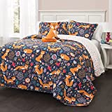 4 Piece Navy Blue Kids Animal Print Full Queen Quilt Set, Orange Grey Pink Frolicking Cute Fox Theme Bedding, Lightweight Floral Geometric Medallion Flowers Birds Reversible Heart,Polyester