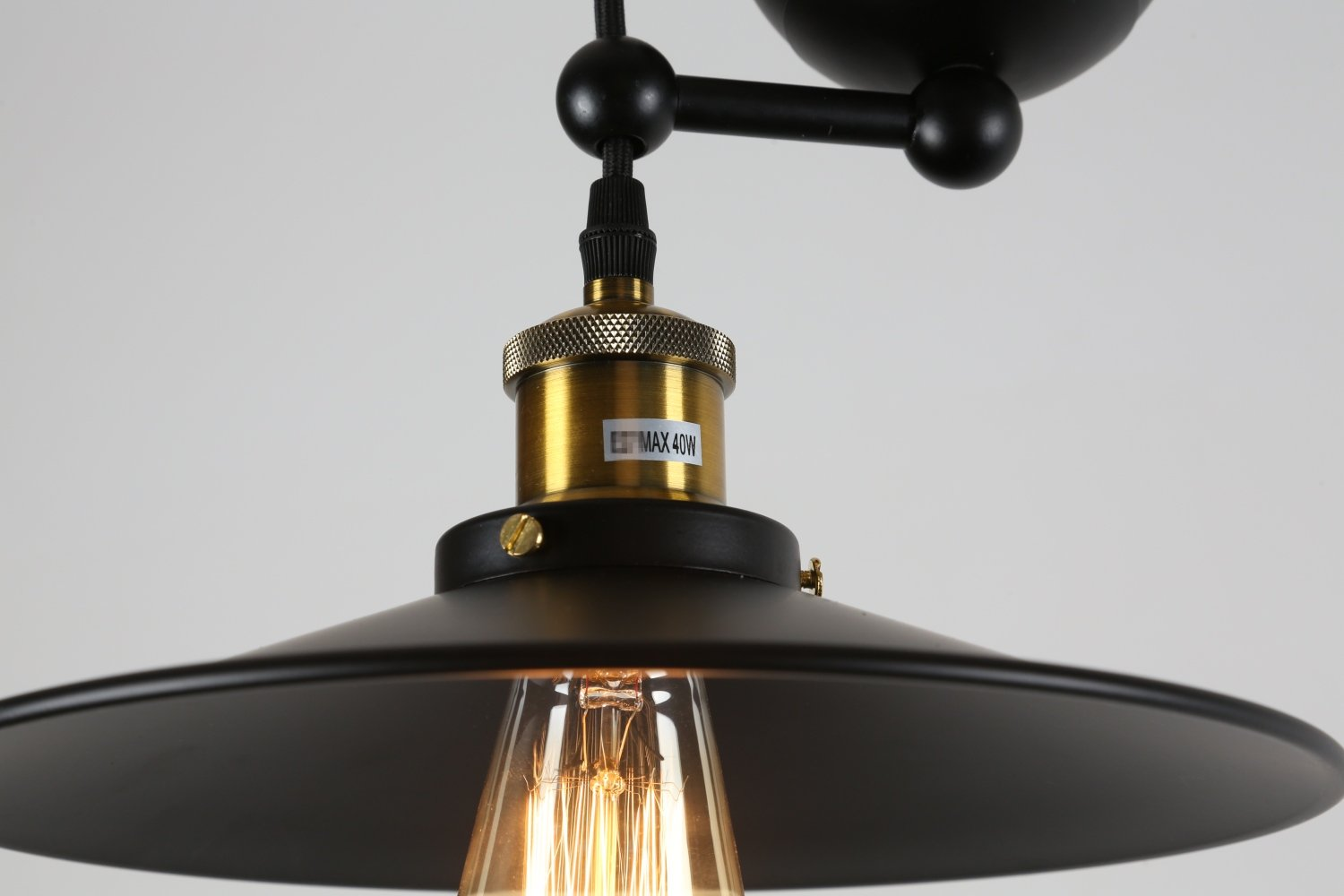 FebFurniture Vintage-Style Black Matte Iron Island Pendant Lights Ceiling Lighting Fixed Pulley Chandelier with Umbrella Lamp Shades Height Adjustable