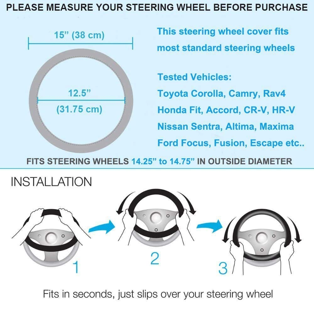 Pro-Cush Diamond Crystal Car Steering Wheel Cover Leather Rhinestone Cover for Steering-Wheel Women Universal 38cm Car Styling (Color Name : Sliver with Purple)
