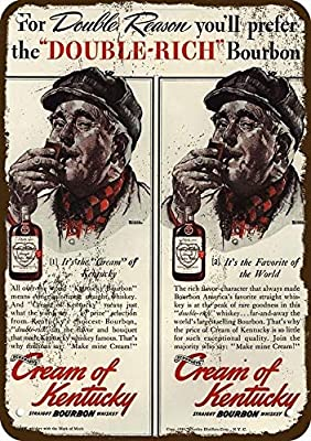 "Yilooom 1940 Cream of Kentucky Whiskey Vintage Look Replica Metal Sign 7"" x 10""- Norman Rockwell"