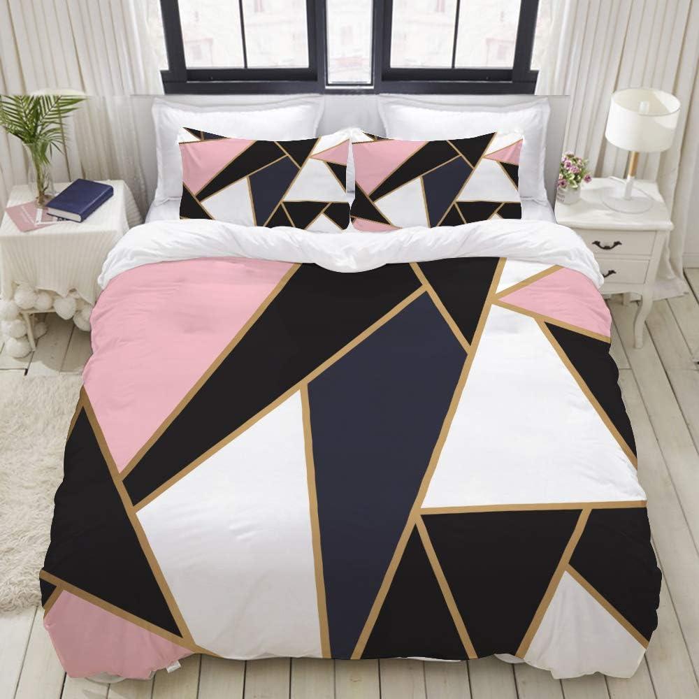 Amazon Com Liasdiva Duvet Cover Set Modern Mosaic Wallpaper Rose Gold Black Decorative 3 Piece Bedding Set With 2 Pillow Shams Queen Size Home Kitchen