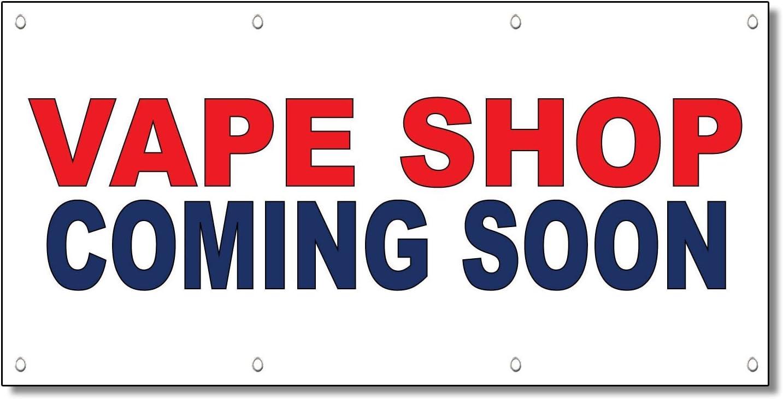 Amazon.com: Vape tienda Coming Soon Rojo Azul 13 oz Banner ...