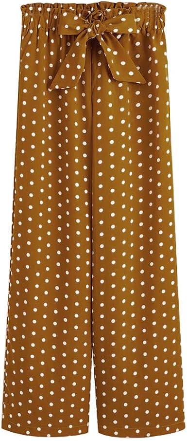 U Expectating Pantalones Anchos Para Mujer Pantalones De Tela Cintura Alta Ancho De Pernera Diseno De Lunares Amarillo L Amazon Es Ropa Y Accesorios