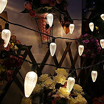 Commercial Grade C9 Warm White Led Christmas Light Set,17Ft 25 Leds Outdoor String Lights Festive Mood Lighting,2 Fuses Included for Patio Garden Holloween Christmas Tree Holiday Decor-MAXINDA