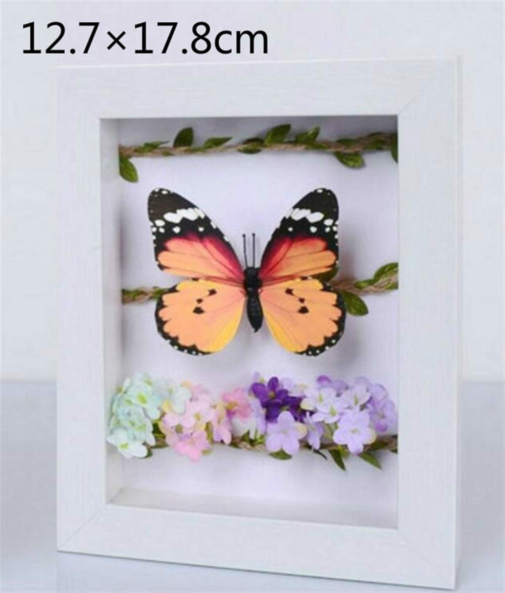 Huhgue Photo Frame Approx.12.7×17.8cm Rectangular Stereo Photo Frame Dried Flower Frame Specimen Box for Home Decoration (White Artificial Wood Grain)