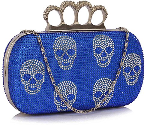 Design Box Evening Clutch New Chain Design Designer Handbag Skull Beaded Sparkly 1 Bag With Blue Ladies q4qT7Ra