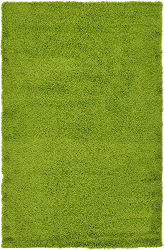 Unique Loom Solo Solid Shag Collection Modern Plush Grass Green Area Rug (5' 0 x 8' 0) (Nature Themed Rugs Area)