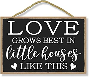 Honey Dew Gifts Hanging Wooden Sign, Love Grows Best in Little Houses, 7 inch by 10.5 inch, Hanging Wall Art, Decorative Wood Sign, Housewarming Gifts Home Decor