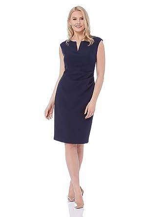7aa8dcf3d6d8 Roman Originals Women Notch Neck Fitted Dress - Ladies V-Neckline Slim  Bodycon Stretch Jersey Daytime Office Business Dresses - Navy - Size 20  ...