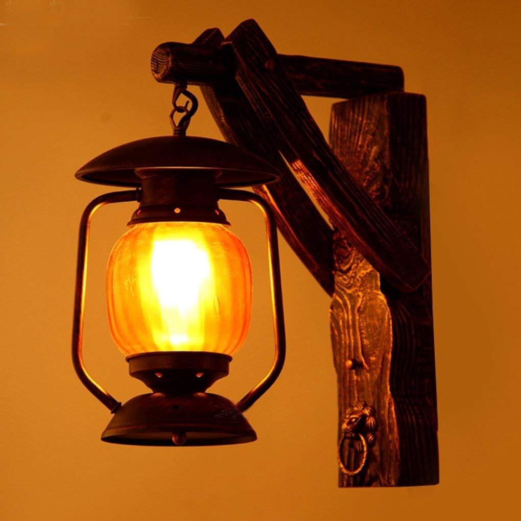 XIN Lámpara de Pared de Hierro de Madera Maciza Retro Lámpara de Pared de Barra de café mediterránea Americana Creativa
