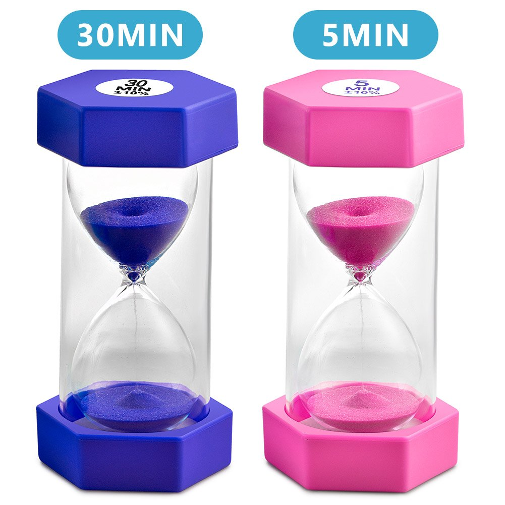 Sand Timer VAGREEZ Hourglass Sand Timer 5 Minutes 30 Minutes Timer Clock for Kids Games Classroom Home Office Kitchen Use (Pack of 2)