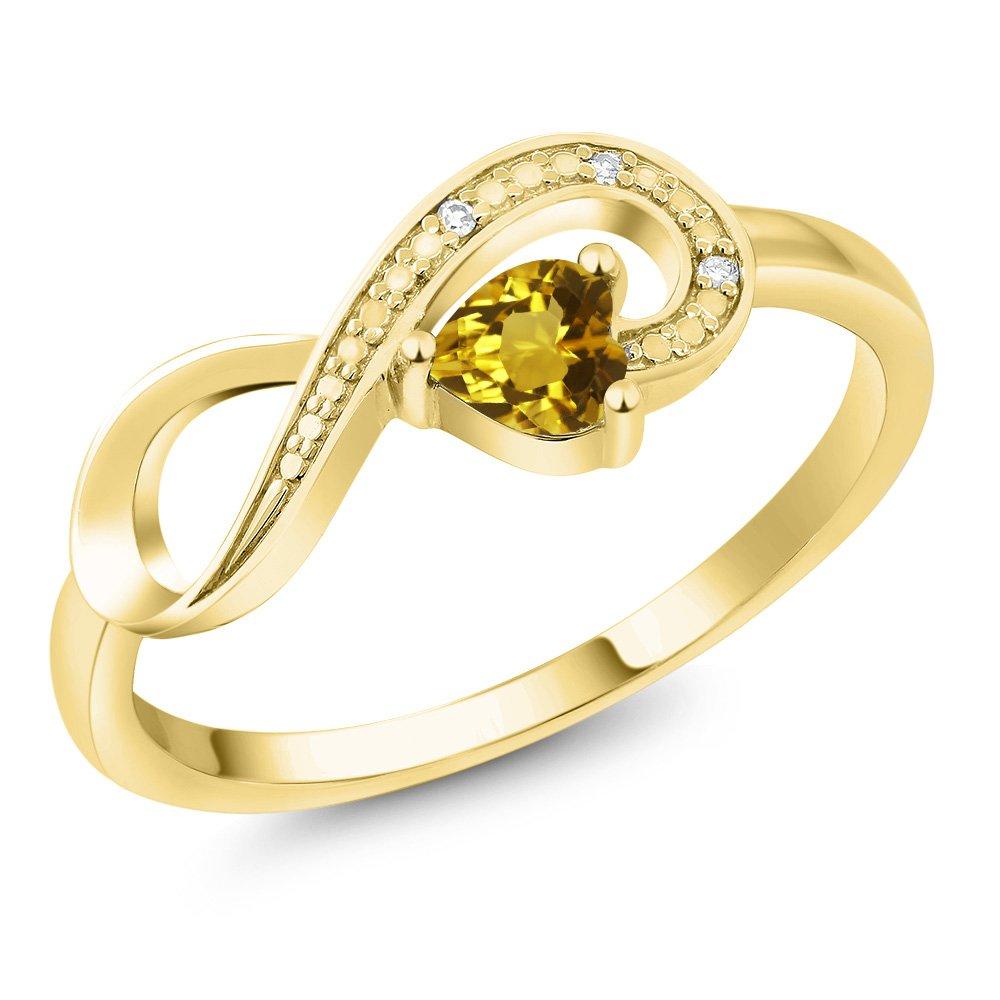 10K Yellow Gold 0.22 Ct Heart Shape Yellow Citrine Diamond Infinity Ring by Gem Stone King