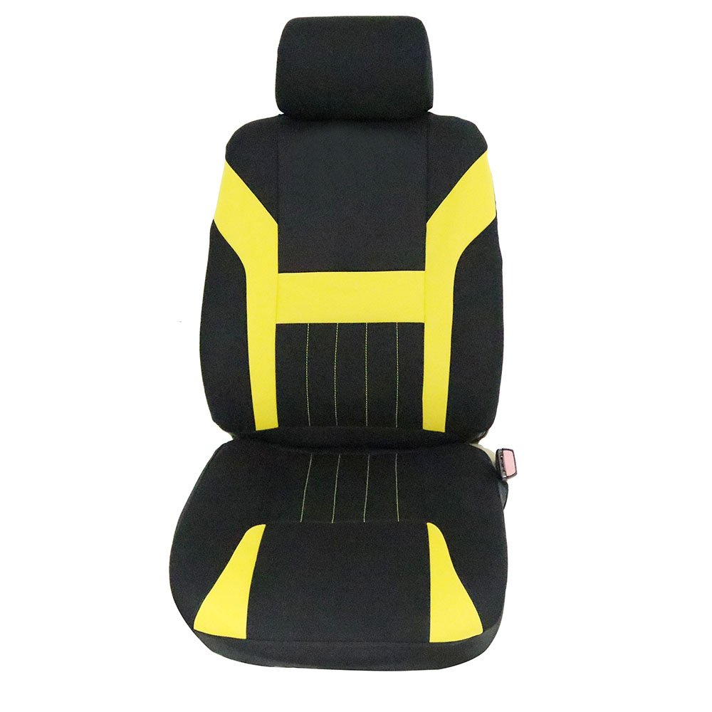 ECCPP Universal Car Seat Cover w/Headrest - 100% Breathable Polyester Stretchy Durable for Most Cars Trucks Vans(Black/Yellow) by ECCPP (Image #7)