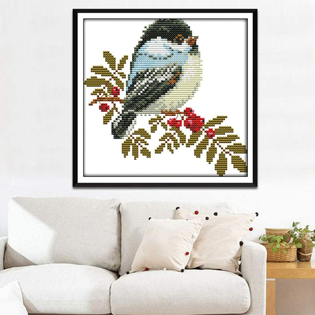 Embroidery DIY Crafts Needlepoint Starter Kits,Little Bird Cross Stitch Stamped Kits Pre-Printed Cross-Stitching Patterns for Beginner Kids Adults 14CT